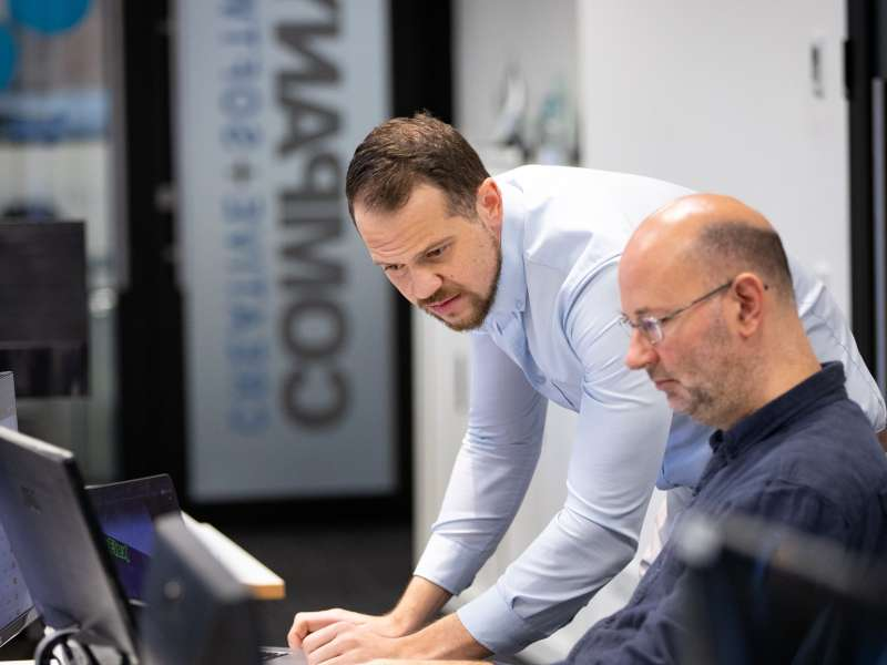 INTEGRATION Company X senior software developers Arno van Niekerk left and Rob Scovell solve a problem